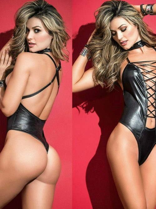 Women Soft Glossy PU Leather Sexy Lingerie Female Bodysuit Erotic Bodycon Breast Exposing Backless Bandage Pole Dance Leotard Latex