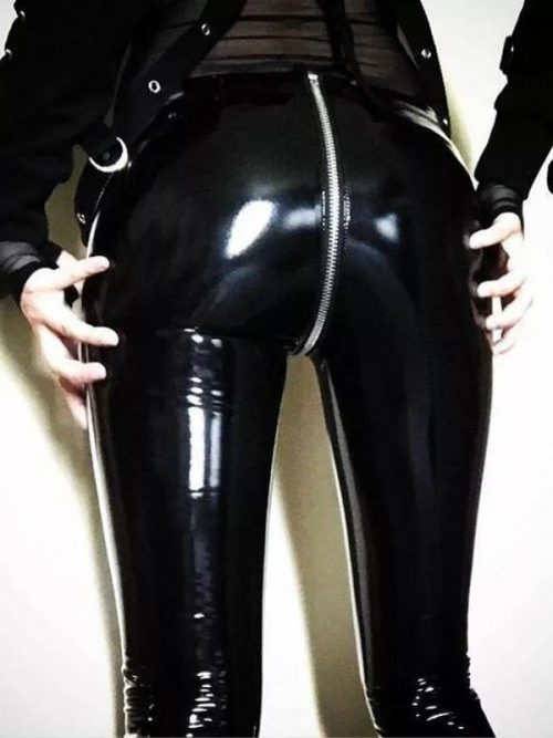 Women Sexy Shiny PU leather Leggings with Back Zipper Push Up Faux Leather Pants Latex Rubber Pants Jeggings Black Red Latex