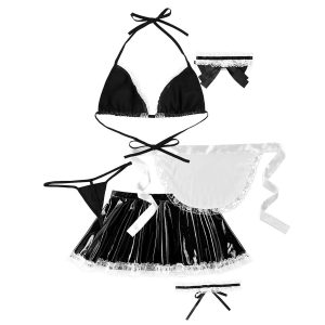 Womens Exotic Cute Anime Maid Dress Cosplay Sexy Costume Bra Top High Waist Skirt G-string Briefs with Apron Necklace Leg Ring Role-playing Games